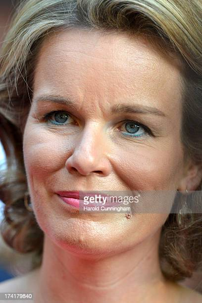 Queen Mathilde of Belgium visits the royal park party during the abdication of King Albert II of Belgium inauguration of King Philippe of Belgium on...