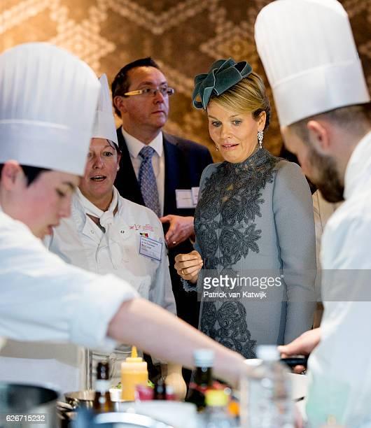 Queen Mathilde of Belgium visits the Sligro Foodgroup Netherlands on November 30 2016 in Veghel Netherlands