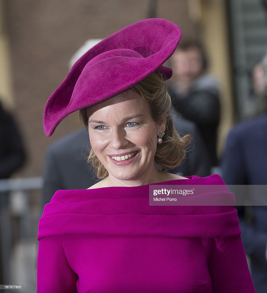 Queen mathilde of Belgium walks across the Binnenhof Parliament Square during an official visit to The Netherlands on November 8, 2013 in The Hague, Netherlands.