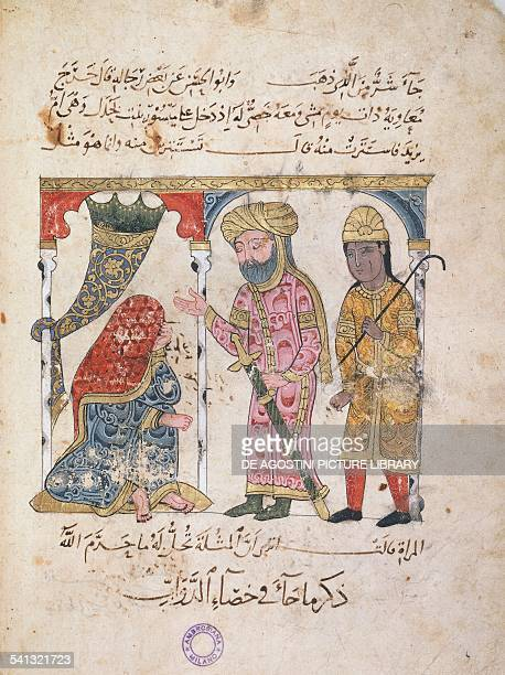Queen Mavia receiving the visit of Caliph Muawiyah I miniature from the Book of animals Arabic manuscript 10th century Milan Biblioteca Ambrosiana