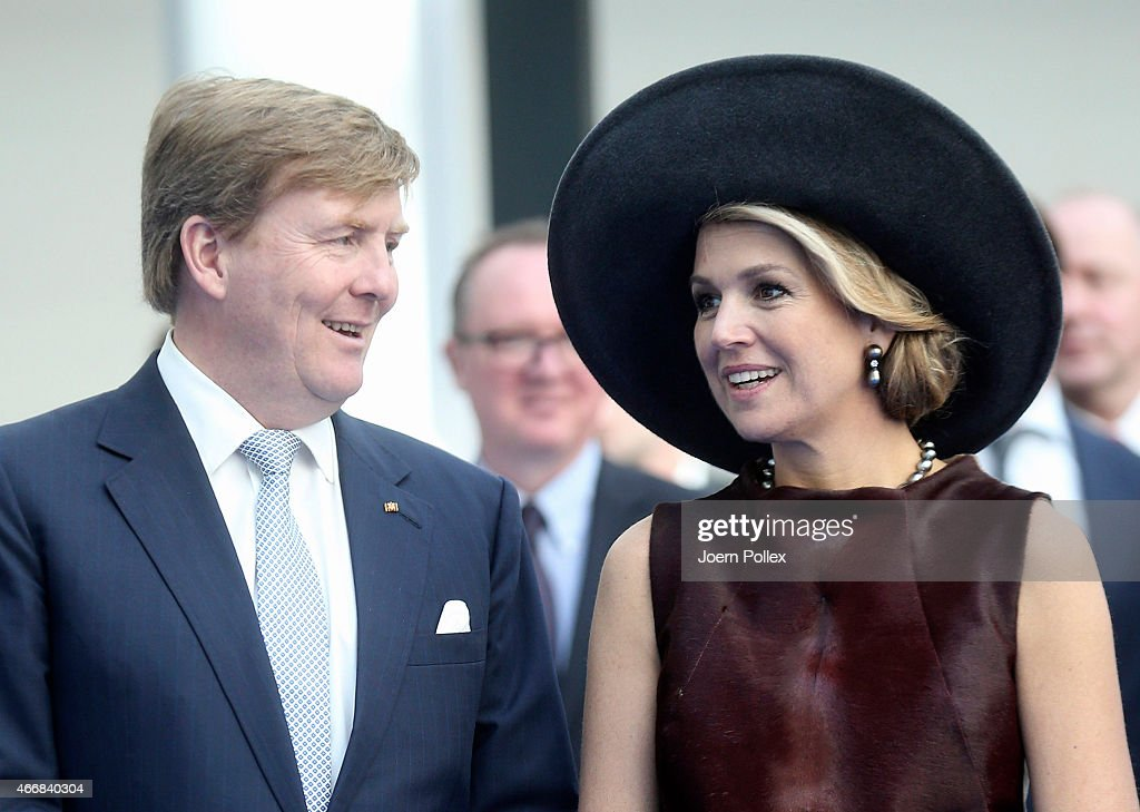 Queen Maxima and King Willem-Alexander of the Netherlands are seen at the Draeger Medical GmbH during their state visit on March 19, 2015 in Luebeck, Germany.