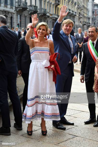 Queen Maxima and King WillemAlexander of The Netherlands arrive for the visit at the Cenacolo Vinciano in the Refectory of the Convent of Santa Maria...