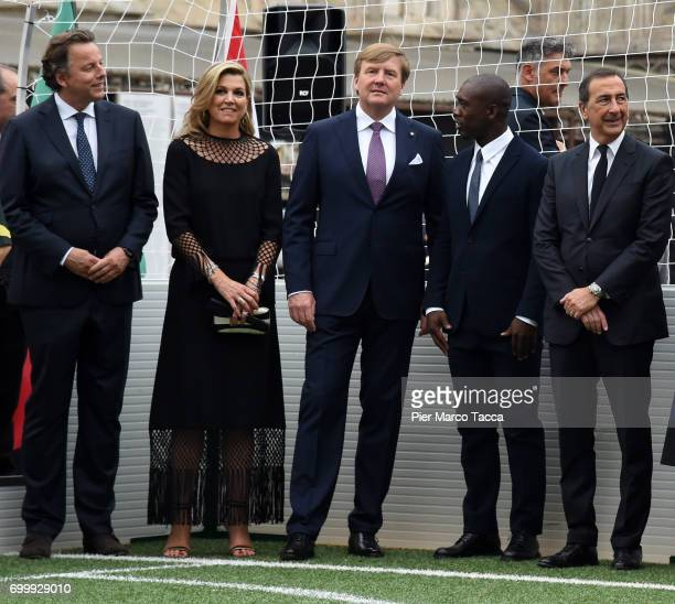 Queen Maxima and King WillemAlexander of The Netherlands Clarence Seedorf and Mayor of Milan Giuseppe Sala attend a football clinic for integration...