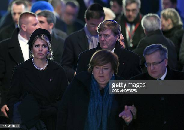Queen Maxima and King WillemAlexander of the Netherlands Polish President Bronislaw Komorowski and his wife walk to light candles after the main...