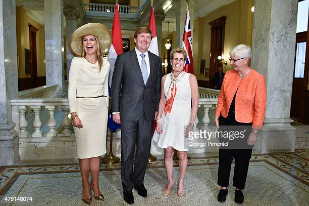 Queen Maxima and King WillemAlexander of The Netherlands Premier of Ontario Kathleen Wynne and Jane Rounthwaite pose at Queen's Park during state...