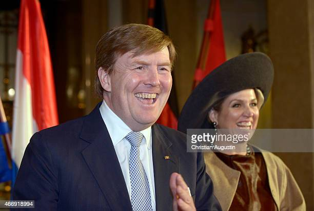 Queen Maxima and King WillemAlexander of The Netherlands visit the town hall on March 19 2015 in Hamburg Germany
