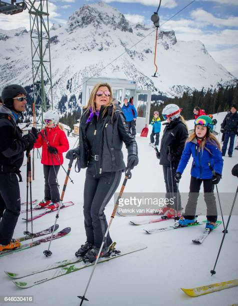 Queen Maxima and Princess Alexia of The Netherlands pose for the media during their annual wintersport holidays on February 27 2017 in Lech Austria
