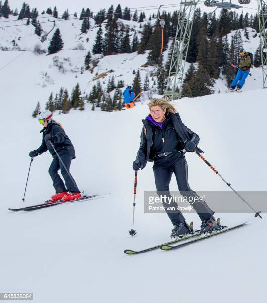 Queen Maxima and Princess Amalia of The Netherlands pose for the media during their annual wintersport holidays on February 27 2017 in Lech Austria