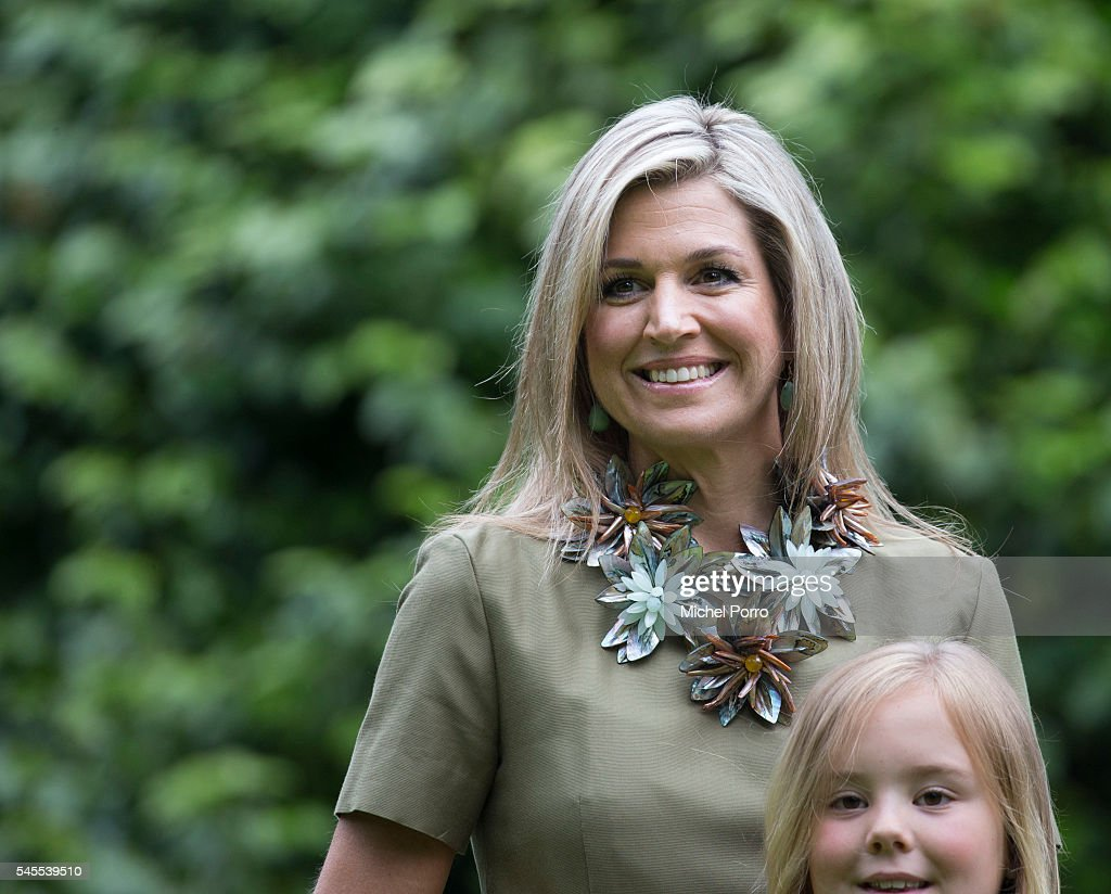 Queen Maxima and Princess Ariane of The Netherlands pose for pictures during the annual summer photo call at their residence Villa Eikenhorst on July 8, 2016 in Wassenaar, Netherlands.