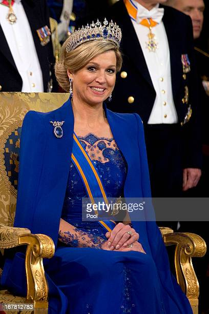 Queen Maxima during the inauguration ceremony of King Willem Alexander and Queen Maxima of the Netherlands at New Church on April 30 2013 in...