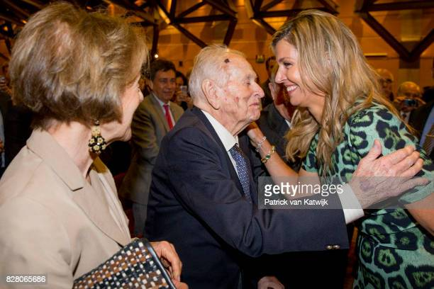 Queen Maxima greets her parents Jorge and Maria Zorreguieta at the Catholic University of Argentina on October 11 2016 in Buenos Aires Argentina