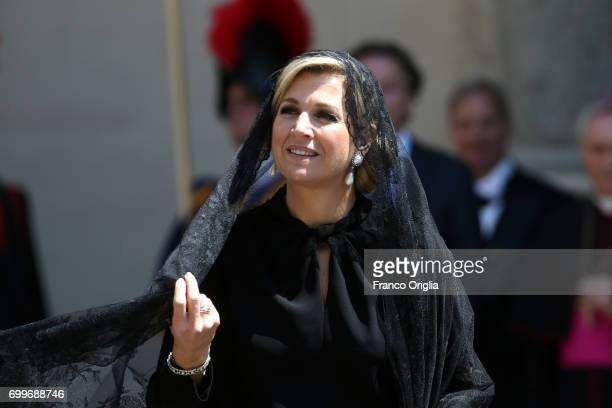 Queen Maxima leave the Apostolic Palace at the end of an audience with Pope Francis on June 22 2017 in Vatican City Vatican King WillemAlexander and...