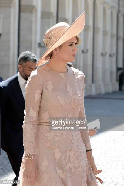 Queen Maxima of Netherlands during the visit of the Royals of Netherlands at the Quirinale on June 20 2017 in Rome Italy