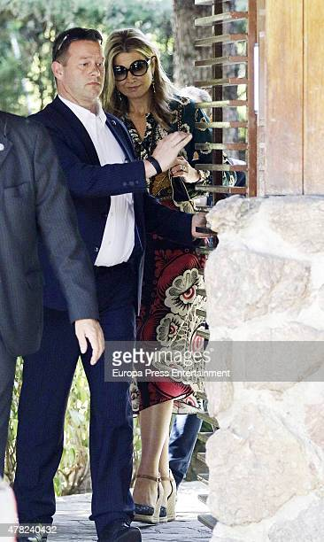 Queen Maxima of Netherlands is seen leaving Princess Miriam de Ungria's home after having lunch the same day of the funeral of her husband Prince...