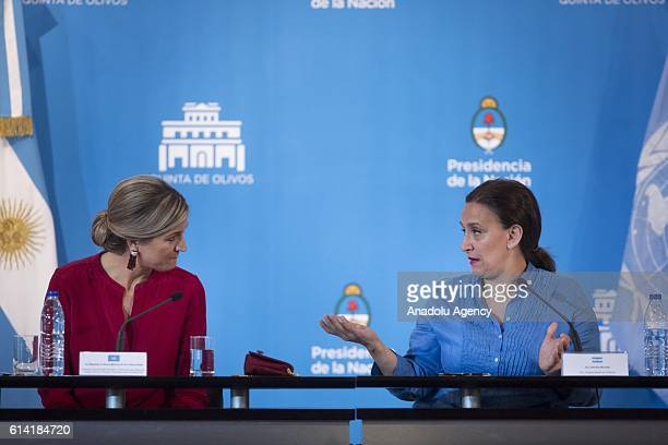 Queen Maxima of The Netherland offers a press conference alongside the Argentina's Vice President Gabriela Michetti after a meeting with the...