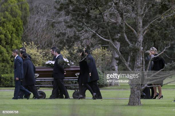 Queen Maxima of the Netherlands along with friends and relatives accompanies the coffin of her father Jorge Zorreguieta during his burial ceremony at...