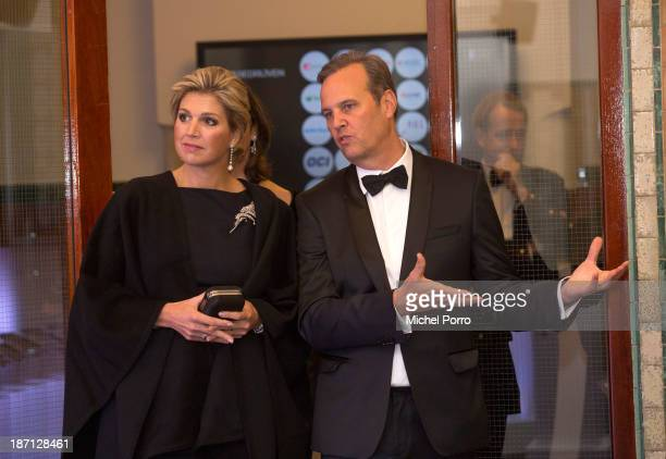Queen Maxima Of The Netherlands and Cees Vermaas CEO of the Amsterdam Stock Exchgange attend the 100th Anniversary Of The Stock Exchange Building on...