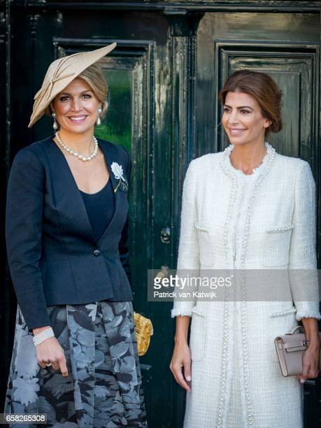 Queen Maxima of The Netherlands and Juliana Awada wife of the Argentinian president visit the Anne Frank House on March 27 2017 in Amsterdam The...