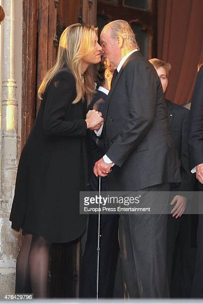 Queen Maxima of the Netherlands and King Juan Carlos attend the memorial service for Prince Kardam of Bulgaria at San Jeronimo el Real church on June...