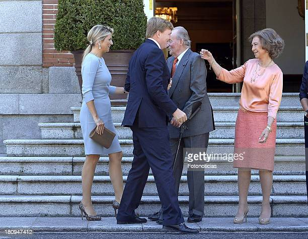 Queen Maxima of The Netherlands and King WillemAlexander of The Netherlands meet King Juan Carlos of Spain and Queen Sofia of Spain at Zarzuela...