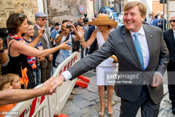 Queen Maxima of The Netherlands and King WillemAlexander of The Netherlands visit mayor Leoluca Orlando at Quatto Canti during the second day of a...