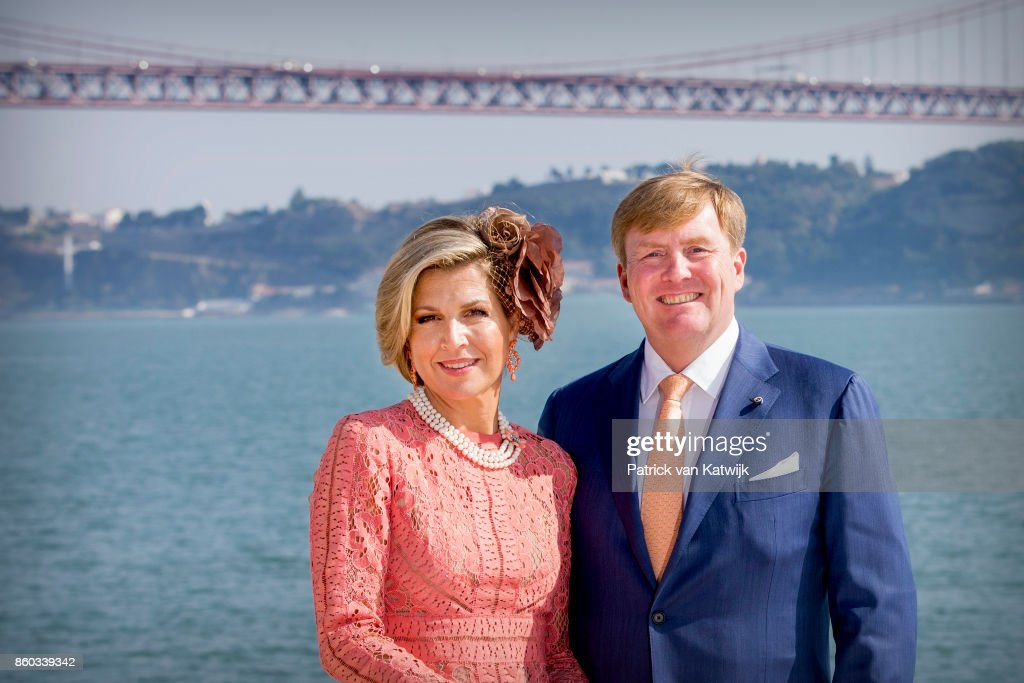 Queen Maxima of The Netherlands and King Willem-Alexander of The Netherlands pose at the Taag on October 11, 2017 in Lisboa CDP, Portugal.