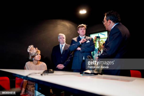 Queen Maxima of The Netherlands and King WillemAlexander of The Netherlands visit the fire brigade education center in Alverca on October 12 2017 in...