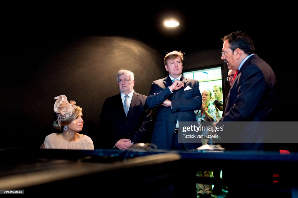 Queen Maxima of The Netherlands and King Willem-Alexander of The Netherlands visit the fire brigade education center in Alverca on October 12, 2017 in Cascais, Portugal.