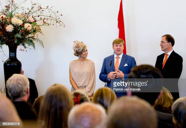 Queen Maxima of The Netherlands and King WillemAlexander of The Netherlands during the meeting with the Dutch Society in Portugal at Cidadela de...