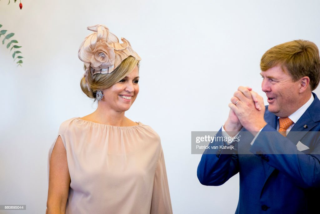 Queen Maxima of The Netherlands and King Willem-Alexander of The Netherlands during the meeting with the Dutch Society in Portugal at Cidadela de Cascais on October 12, 2017 in Cascais, Portugal.