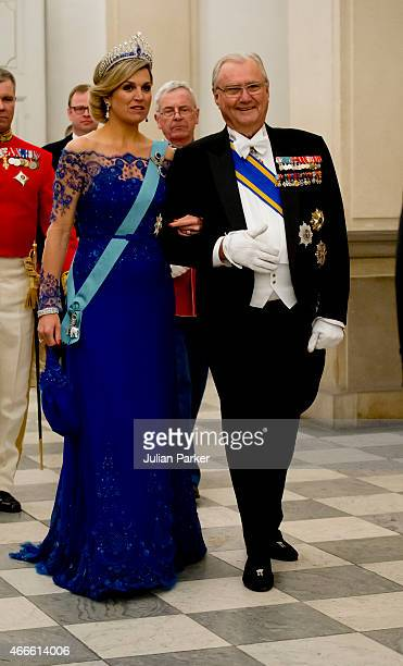 Queen Maxima of the Netherlands and Prince Henrik of Denmark on arrival for a State Banquet at Christiansborg Palace during the state visit of the...