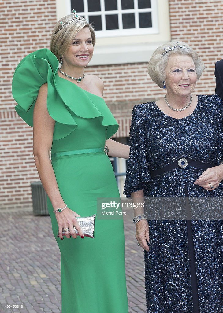 Queen Maxima of The Netherlands and Princess Beatrix of The Netherlands arrive for dinner at the Loo Royal Palace on June 3, 2014 in Apeldoorn, Netherlands.