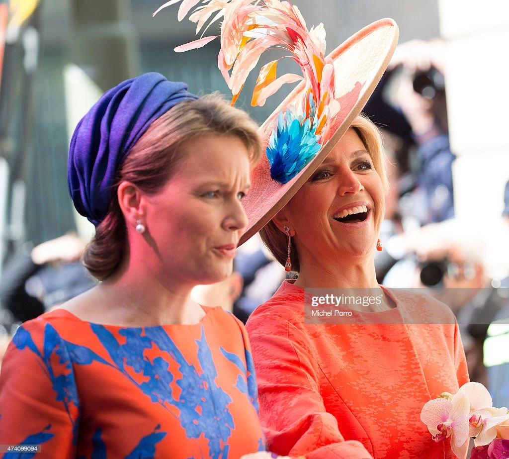 Queen Maxima of The Netherlands and Queen Mathilde of Belgium open the sculpture exhibition Vormidable on May 20, 2015 in The Hague, Netherlands.