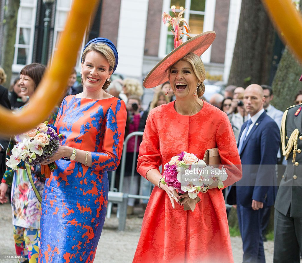 Queen Maxima of The Netherlands and Queen Mathilde of Belgium open the sculpture exhibition Vormidable on May 20, 2015 in The Hague, Netherlands.