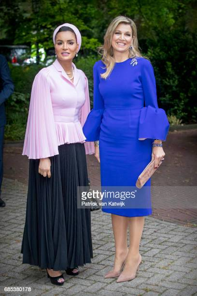 Queen Maxima of The Netherlands and Sheikha Moza bint Nasser of Qatar attend the Seminar On Protection Education In Conflict Zones at the The Hague...