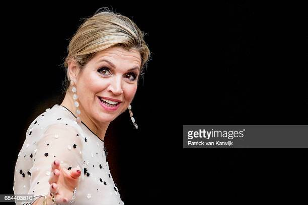 Queen Maxima of The Netherlands arrives at Palace Noordeinde for the Appeltjes van Oranje award ceremony on May 18 2017 in The Hague Netherlands