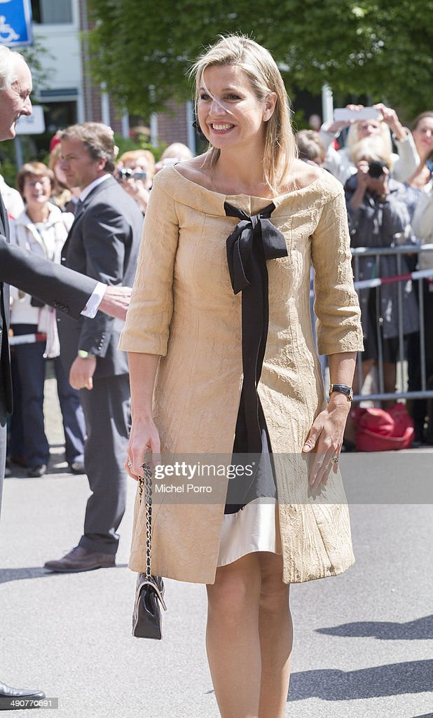 Queen Maxima of The Netherlands arrives at the home for the elderly De Bolder to attend a jubilee concert celebrating 15 years Stichting Muziek in Huis (music for the elderly) on May 15, 2014 in Huizen, Netherlands.