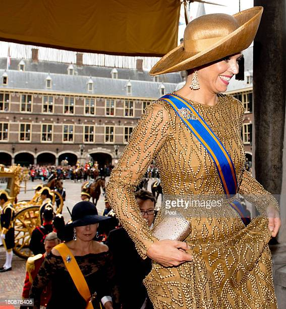 Queen Maxima of The Netherlands arrives at the Ridderzaal during celebrations for Prinsjesdag on September 17 2013 in The Hague Netherlands