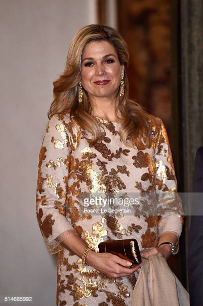 Queen Maxima of the Netherlands arrives at The State Dinner in Honor Of King WillemAlexander of the Netherlands and Queen Maxima on March 10 2016 in...