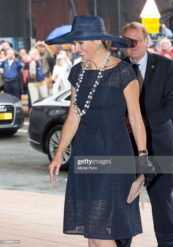 Queen Maxima of The Netherlands arrives before baptizing the cruise ship MS Koningsdam on May 20 2016 in Rotterdam Netherlands.