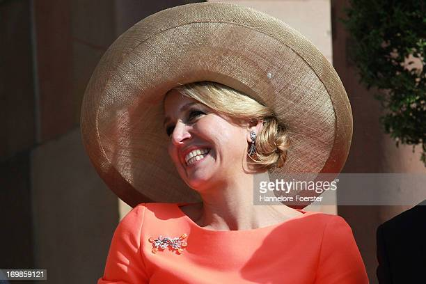 Queen Maxima of The Netherlands arrives for a visit to the federal state of Hesse on June 3 2013 in Wiesbaden Germany King WillemAlexander of The...