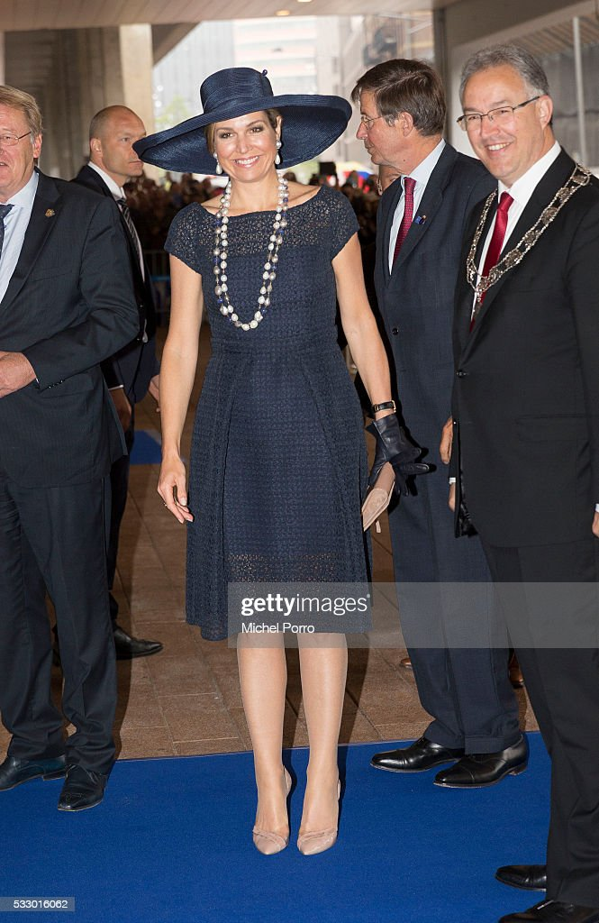 Queen Maxima of The Netherlands arrives for the baptizing of the cruise ship MS Koningsdam on May 20 2016 in Rotterdam Netherlands.