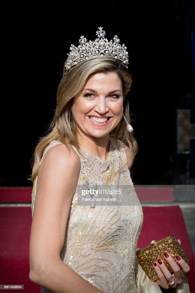Queen Maxima of The Netherlands arrives for the gala dinner for the Corps Diplomatic at the Royal Palace on May 23, 2017 in Amsterdam, Netherlands.