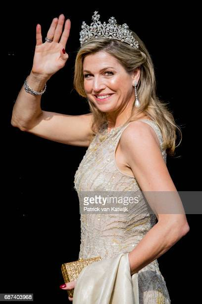 Queen Maxima of The Netherlands arrives for the gala dinner for the Corps Diplomatic at the Royal Palace on May 23 2017 in Amsterdam Netherlands