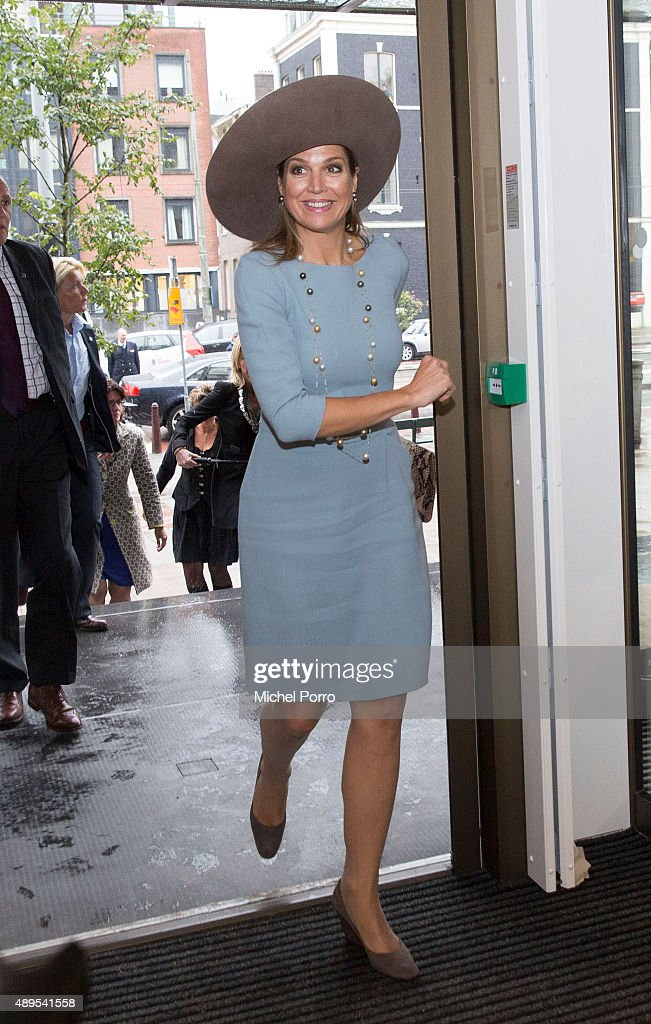 Queen Maxima of The Netherlands arrives for the opening of the new visitor center of the Netherlands Bank on September 22, 2015 in Amsterdam, Netherlands