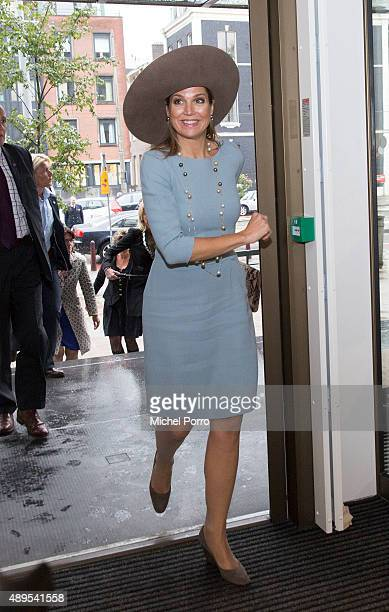 Queen Maxima of The Netherlands arrives for the opening of the new visitor center of the Netherlands Bank on September 22 2015 in Amsterdam...