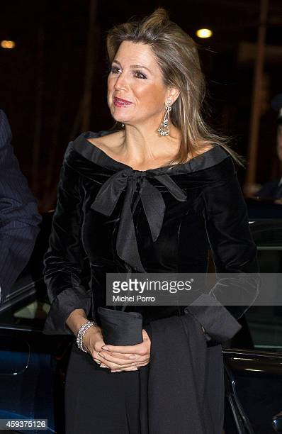 Queen Maxima of The Netherlands arrives for the Residentie Orchestra 110th Anniversary on November 21 2014 in The Hague The Netherlands