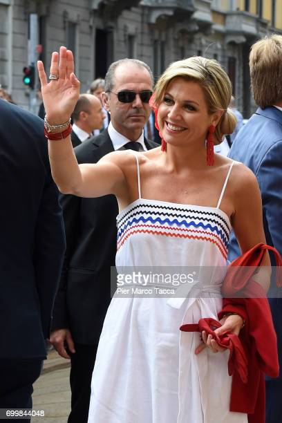 Queen Maxima of The Netherlands arrives for the visit at the Cenacolo Vinciano in the Refectory of the Convent of Santa Maria delle Grazie on June 22...