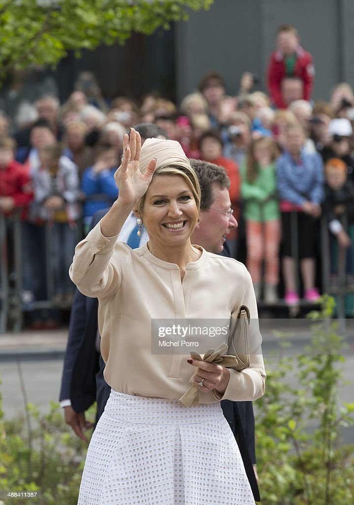 Queen Maxima of The Netherlands arrives on the start of a regional tour in The Achterhoek on May 6, 2014 in Borculo, Netherlands.