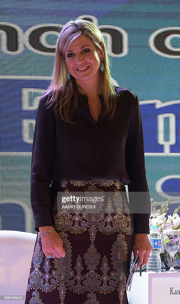 Queen Maxima of the Netherlands arrives to attend a launching ceremony of the Universal Financial Assess Initiative in Islamabad on February 9, 2016. Queen Maxima of the Netherlands, UN Secretary Generals Special Advocate (UNSGSA) for Inclusive Finance for Development arrived in Islamabad on a three day official visit to Pakistan. AFP PHOTO / Aamir QURESHI / AFP / AAMIR QURESHI